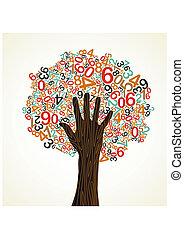 árvore, escola, conceito, educação, mão