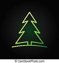 árvore, escuro, vetorial, experiência verde, linha, natal, ícone