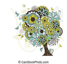árvore, estourar, flores