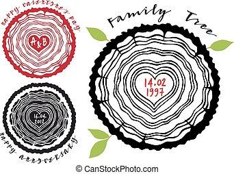 árvore familiar, com, coração, anéis