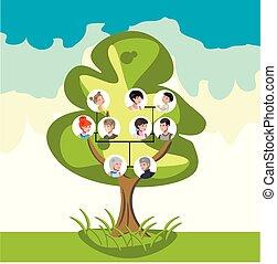 árvore familiar, com, retratos, de, parentes
