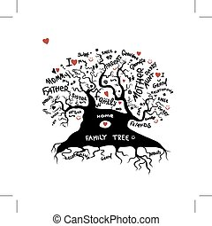 árvore familiar, esboço, para, seu, desenho