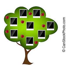 árvore familiar, vetorial, ilustração