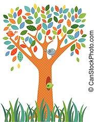 árvore, fantasia, coloridos