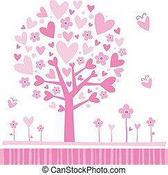 árvore, feito, hearts.