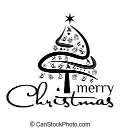 árvore, feriado, pretas, natal, fundo