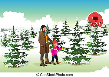 árvore, filho, shopping, natal, pai