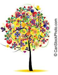 árvore, flor, abstratos, fundo