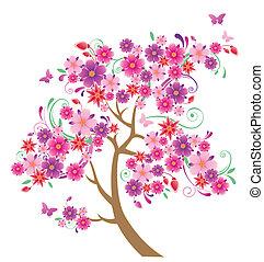 árvore, florescendo