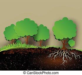 árvore, folhas, ilustração, raizes, verde