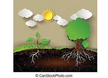 árvore, folhas, roots., ilustração, verde