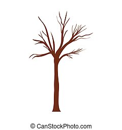 árvore, folhas, sem, branchs, tronco