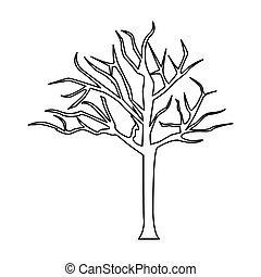 árvore, folhas, sem, silueta, ramos