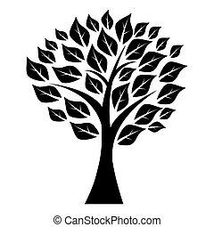 árvore, folhas, silueta