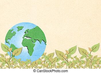 árvore, formando, globo, concept., ambiental, mundo