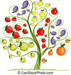 árvore, fruta, desenho, seu