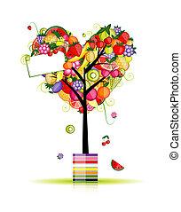 árvore fruta, forma, de, coração, para, seu, desenho