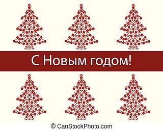 árvore, fundo, ano, russo, novo, feriado, natal, feliz