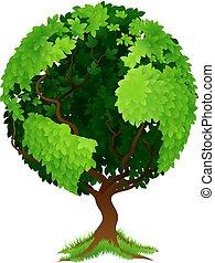 árvore, globo mundial, terra, conceito