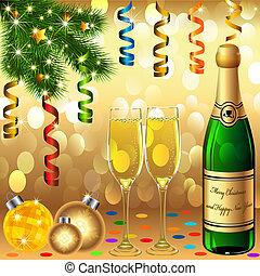 árvore, goblets, abeto, bolas, ano novo, pedaço