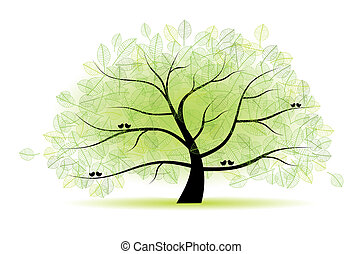 árvore, grande, antigas, seu, desenho