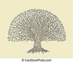 árvore grande, com, raizes, para, seu, desenho