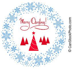 árvore, grinalda, estrela, natal, vermelho