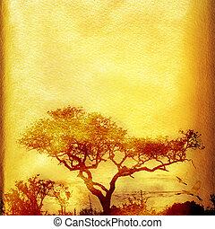 árvore., grunge, fundo, africano