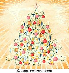árvore, grunge, natal, fundo