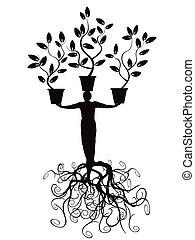 árvore, homem, com, raiz
