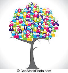 árvore, homens negócios, coloridos