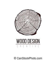 árvore, ilustração acionária, cruza-seção, anual, anéis, trunk., isolado, crescimento, branca, experiência., logotipo, vetorial