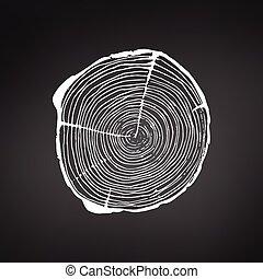 árvore, ilustração acionária, cruza-seção, pretas, anual, anéis, trunk., isolado, crescimento, experiência., logotipo, vetorial