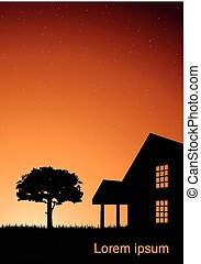 árvore, ilustração, casa