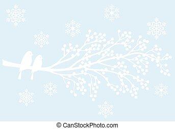árvore inverno, com, bagas, e, pássaros