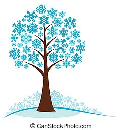 árvore inverno, com, snowflakes