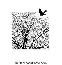 árvore inverno, em, um, quadrado