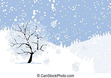 árvore inverno, seu, holiday., natal, design.