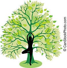 árvore, ioga posa