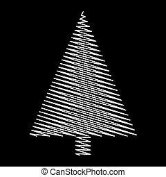 árvore, isolado, desenho, fundo, pretas, rabisco, natal
