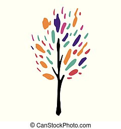 árvore, isolado, ilustração