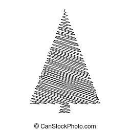 árvore, isolado, vetorial, fundo, branca, rabisco, natal