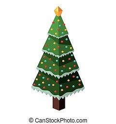 árvore, isometric, desenho, pinho