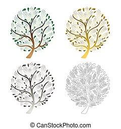 árvore, jogo, isolado, branco, experiência., vetorial, illustration.