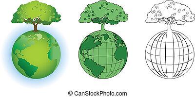 árvore, ligado, globo