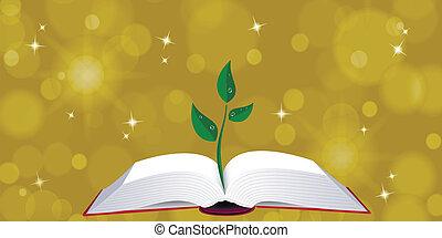 árvore, livro, abertos, broto