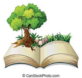 árvore, livro, abertos