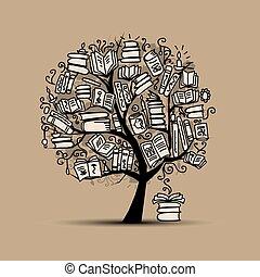 árvore, livro esboço, desenho, seu