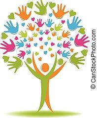 árvore, logotipo, mãos, e, corações, figuras
