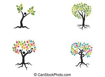 árvore, logotipo, vetorial